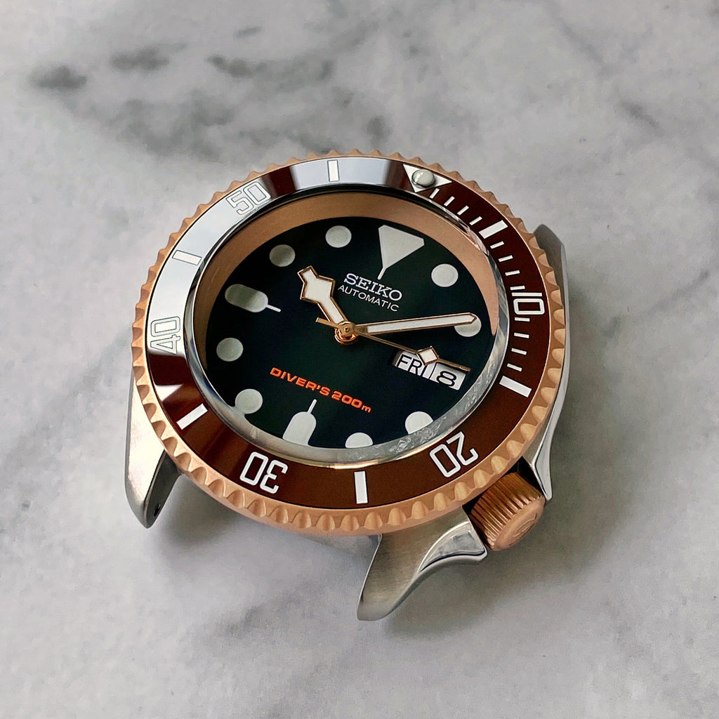 "Crown - SKX007 - Bead Blasted Steel PVD Rose Gold - ""S"""