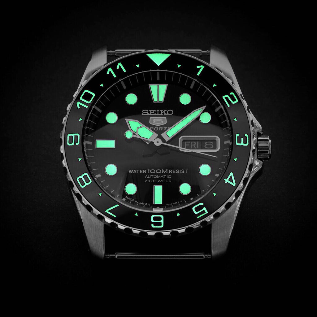Ceramic Insert - Urchin Dual Time Black - Luminous Green