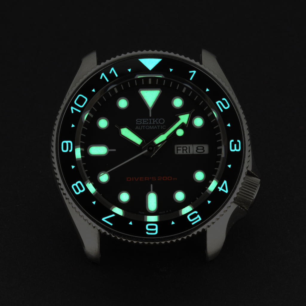 Ceramic Insert - SKX Dual Time Black - Luminous Aquaris