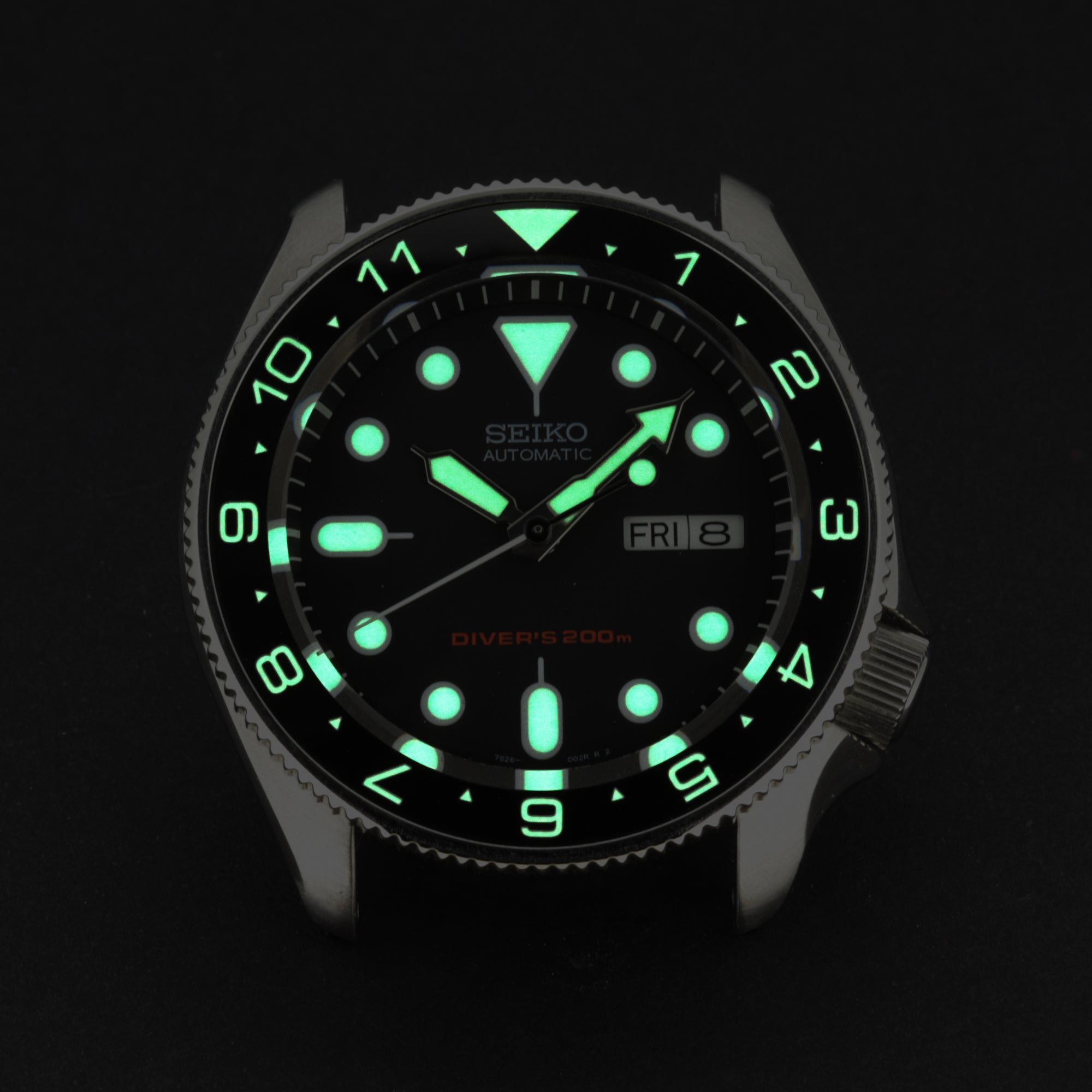 Ceramic Insert - SKX Dual Time Black - Luminous Green