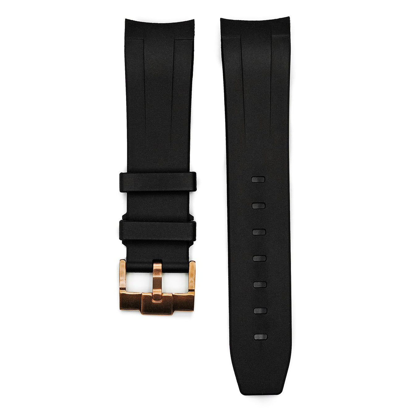 Rubber Strap - SKX007 - Black - Rose Gold Buckle