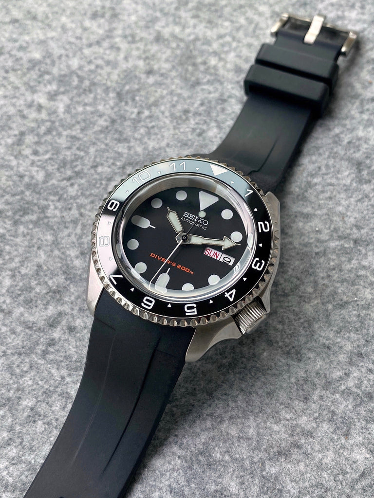 Rubber Strap - SKX007 - Black - Steel Buckle