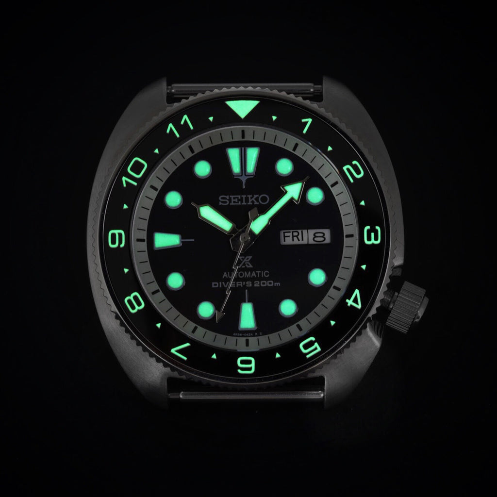 Ceramic Insert - SRP Turtle Dual Time Black - Luminous Green