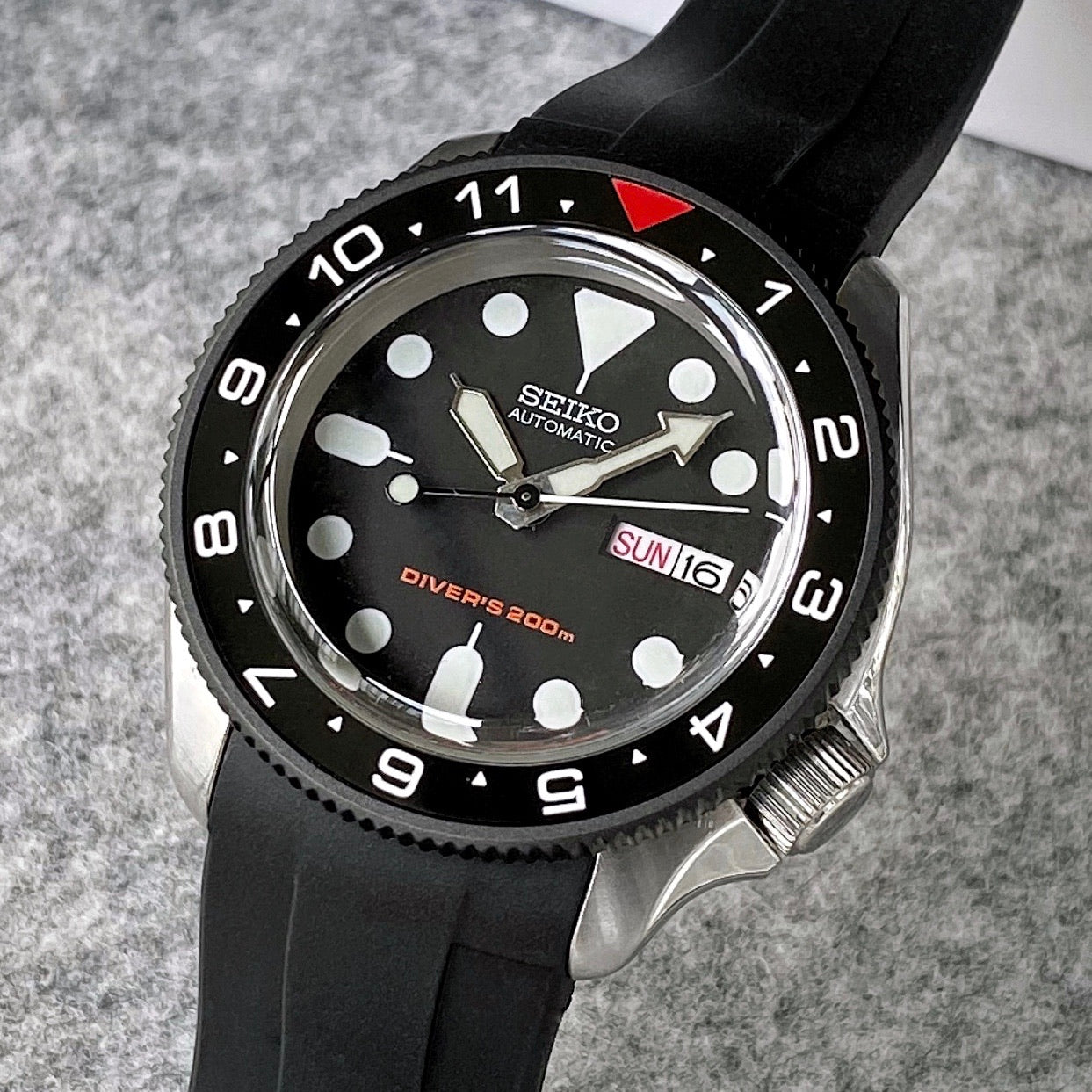 Ceramic Insert - SKX Dual Time Red T Black