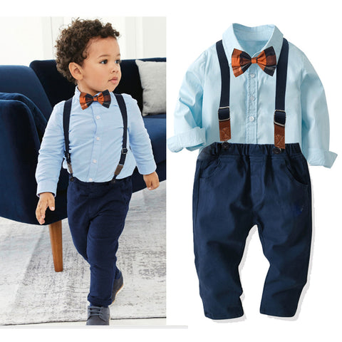 Blue Shirt With Bow Tie Four-Piece Set 1-7T