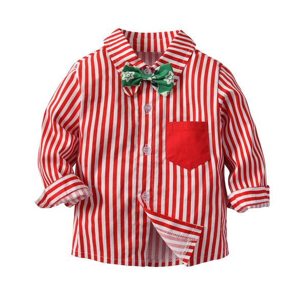 Red And Green Striped Shirts Suspender Pants Set 1-4T 2 Colors