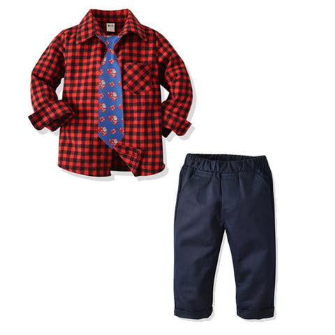 Red & Black Plaid Shirt Christmas Set 2-9T