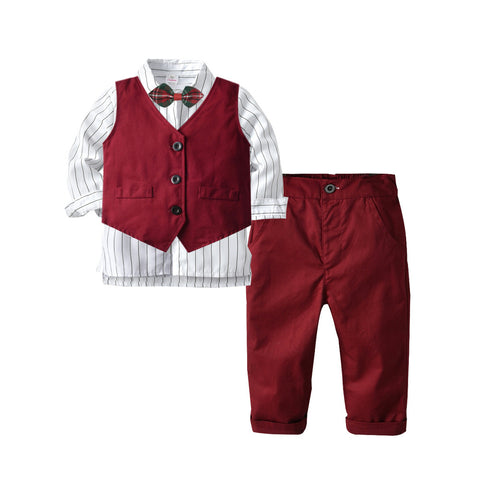 Kids Burgundy Suit with White Strip Shirt 2-9T