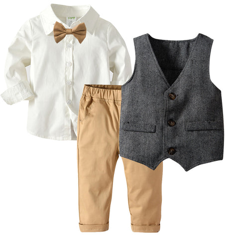 Boys' Long Sleeve Shirt with Double Layer Vest Set 1-7T