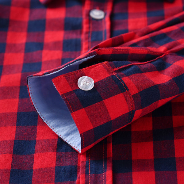 Red & Black Plaid Shirt With Vest Suit 1-7T