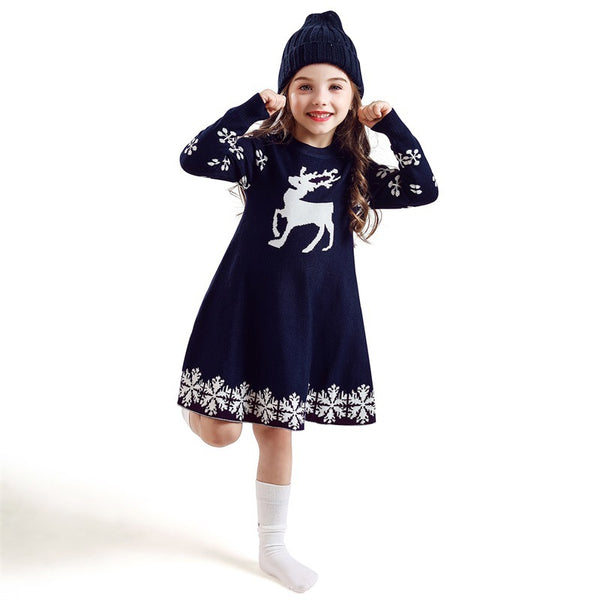 Girl's Knitted Deer Snowflake Print Long Sleeve Dress 3-8T