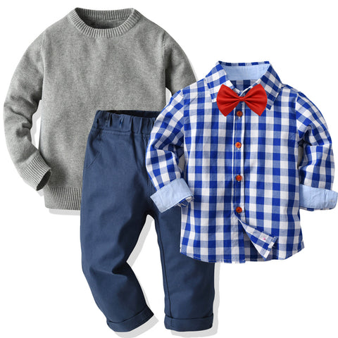 Blue Plaid Shirt with Grey Sweater 4 Piece Set 1-6T
