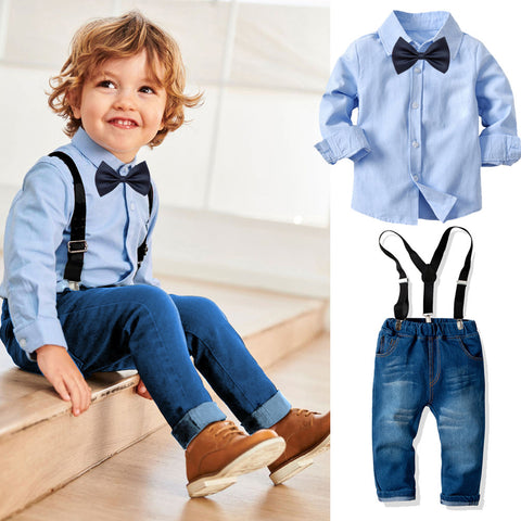 Kids Shirt Suspenders Jeans Set (3-8T)