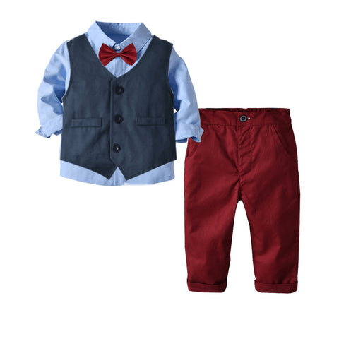 Blue Vest with Red Pants Four Piece Suit  1-6T
