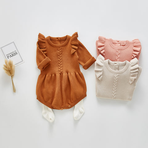 Ruffle Knitted Baby Jumpsuit 6M-3T