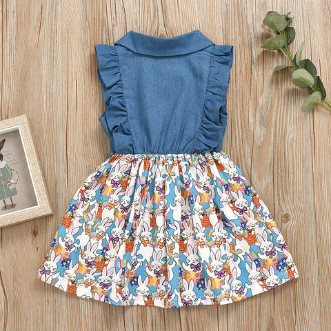 Stitching Denim Bunny Print Dress 1-5T