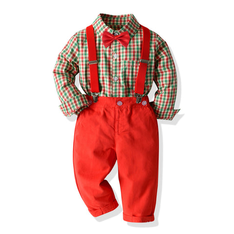 Vintage Plaid Shirt Bow Tie Holiday Set 1-7T