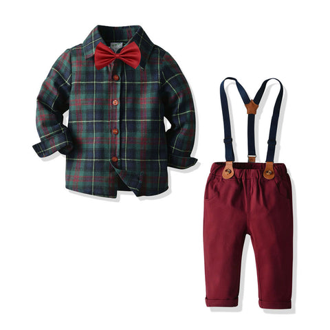 Scottish Style Suspender Pants Set 2-8T