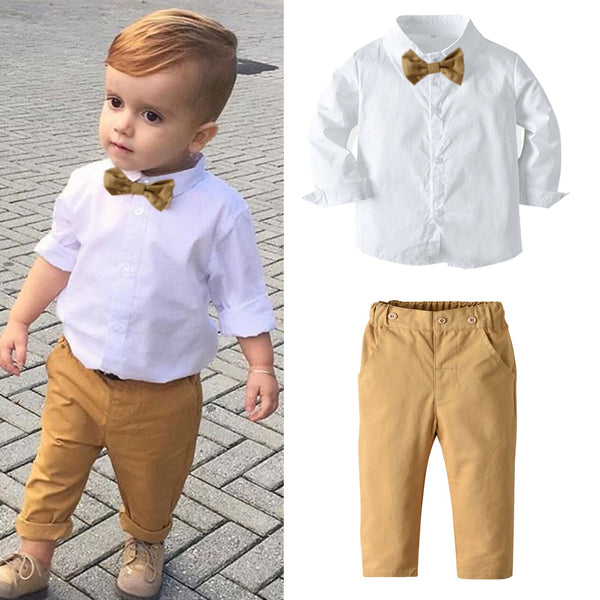 White Shirt With Beige Pants Set 1-7T