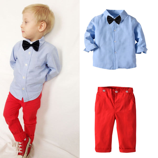 Blue Shirt With Red Pants Set 1-7T