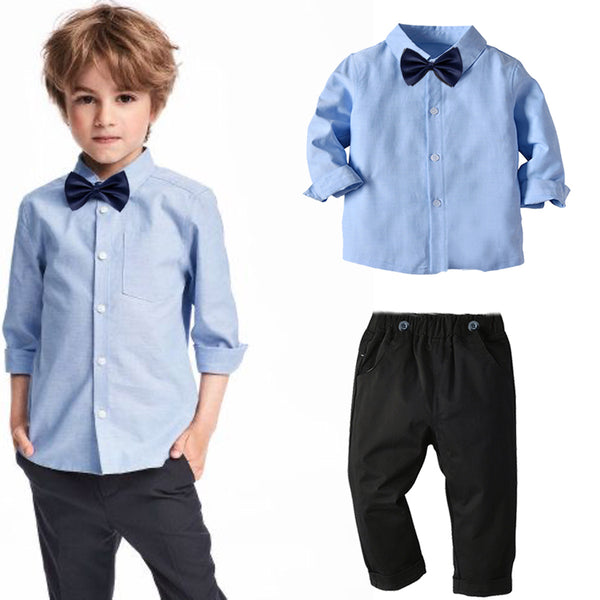 Blue Shirt With Black Pants Set 1-7T