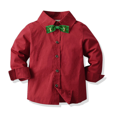 Boys Red Shirt With Jeans Sets 2-8T