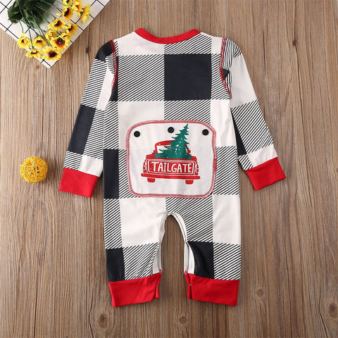 Black & White Grid Print Jumpsuit 6-24M