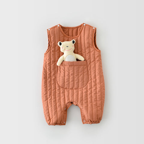 Infants Winter Sleeveless Jumpsuits With Frog Baby 2 Colors (3-24M)
