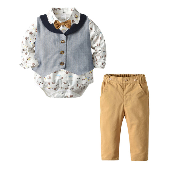 Infant Set With Vest And Beige Pants 1-3T