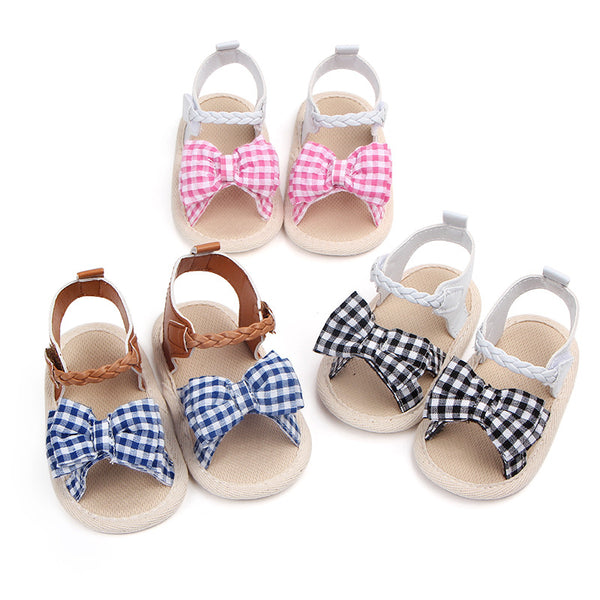 [US Only] Lattice Bow Baby Girl Non-Slip Shoes 3 Colours-www.my-baby-world.com