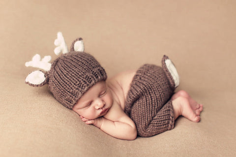Hand Knitted Newborn Baby Dear Set