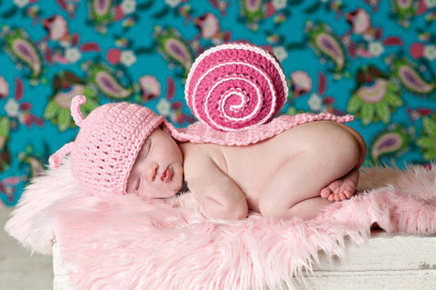 Hand Knitted Pink Snail Newborn Photography Set