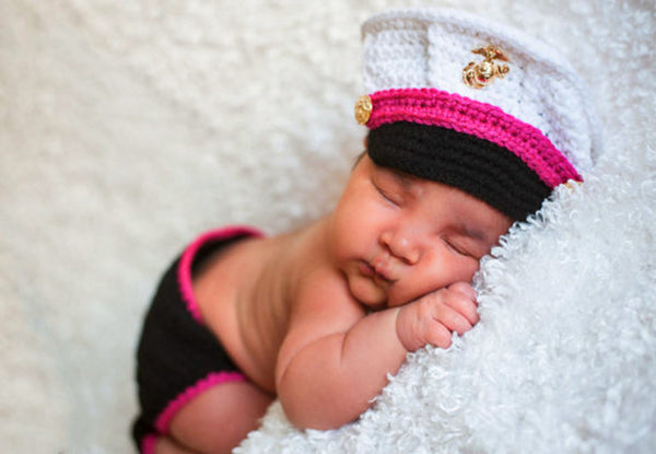 Hand Knitted Little Marine Newborn Photography Set 2 Colors