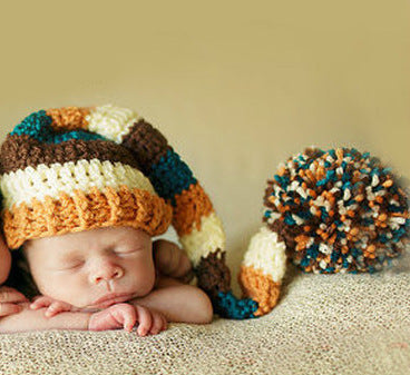 Hand Knitted Yellow & Blue Twins Newborn Photography Hat