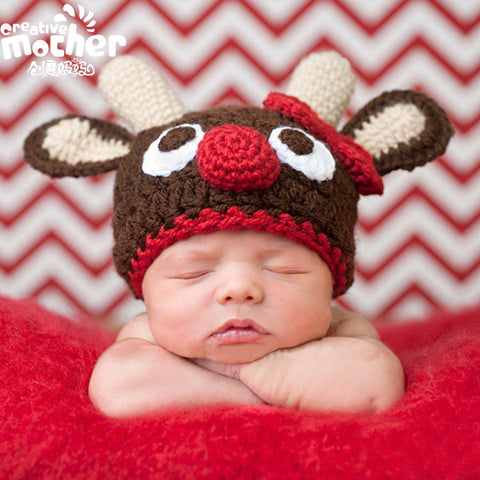 Hand Knitted Baby Deer Hat