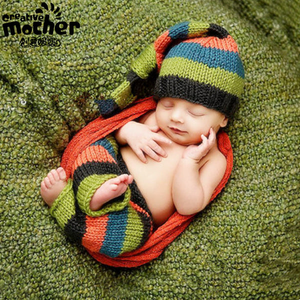 Hand Knitted Mixed Stripe Newborn Photography Set