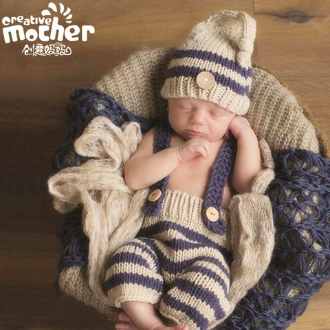 Hand Knitted Beige Stripe Newborn Photography Set