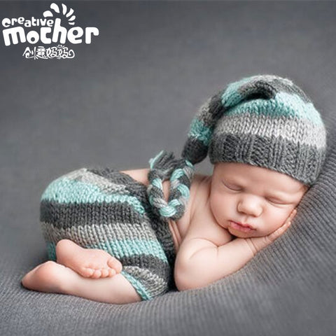 Hand Knitted Green Grey Stripe Newborn Photography Set