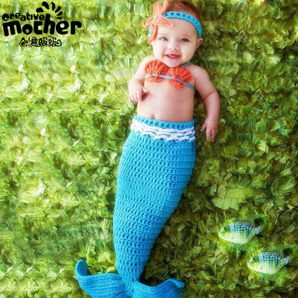 Hand Knitted Blue Mermaid Baby Photography Set