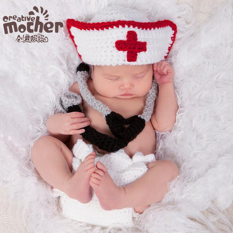 Hand Knitted Little Nurse  Newborn Photography Set