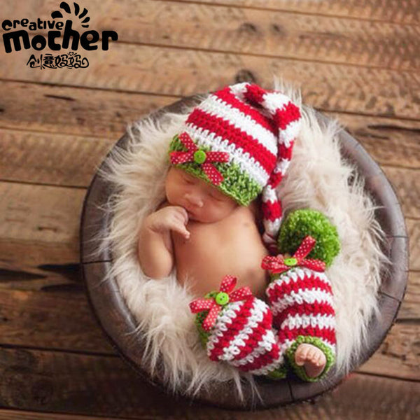 Hand Knitted Cute White &Red Stripe Newborn Photography Set