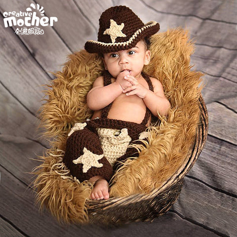 Hand Knitted Little Cowboy Newborn Photography Set