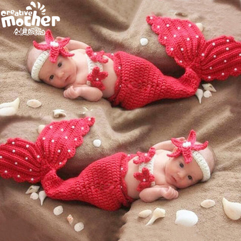 Hand Knitted Red Pearl Mermaid Newborn Photography Set