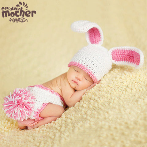 Hand Knitted Pink Bunny Newborn Photography Set