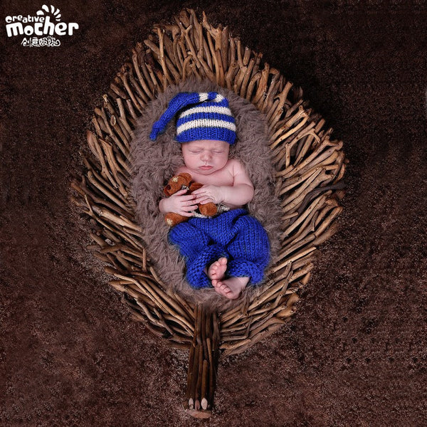 Hand Knitted Blue Stripe Hat Newborn Photography Set