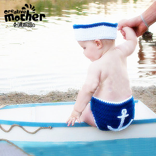 Hand knitted Newborn Photography Little Navy Set