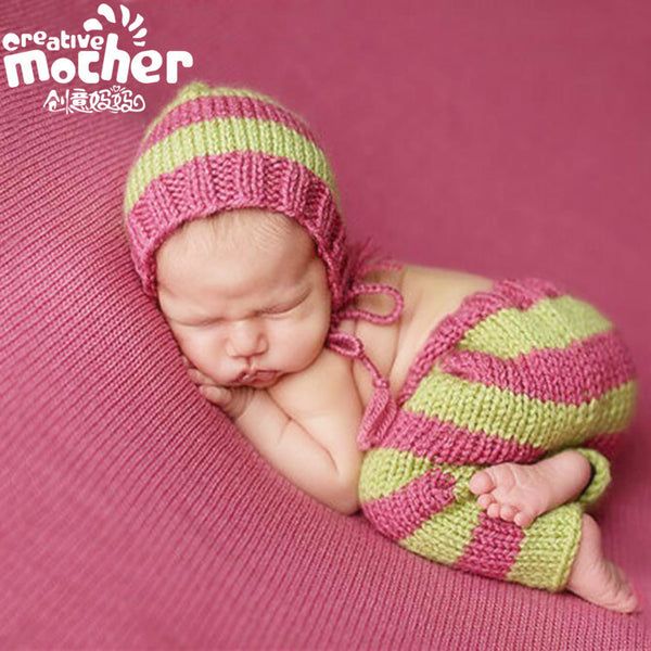 Hand Knitted Green & Pink Stripe Photography Set