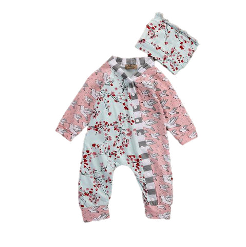 Baby Birds & Floral Jumpsuit 2pcs Set-www.my-baby-world.com