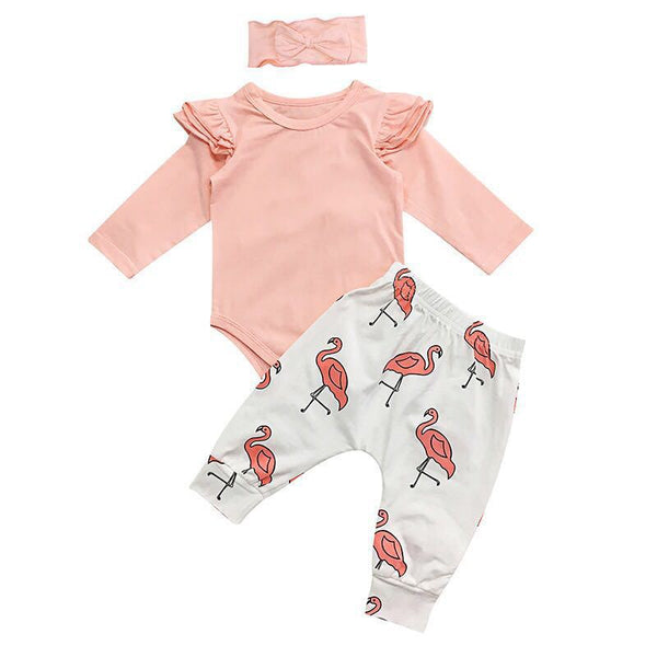 Set Girls Tops+Flamingo Print Pants Leggings Headband 3pcs-www.my-baby-world.com