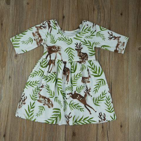 Summer Deer Print Baby Girl Dress-www.my-baby-world.com